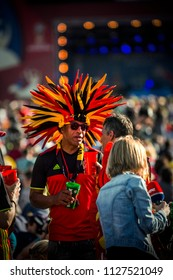 MOSCOW, July 2, 2018. Belgian fan from South America on the central Fan Zone. The period of the International FIFA World Cup 2018 in Russia.