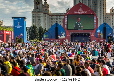 MOSCOW, July 2, 2018. Football fans on the central Fan Zone. The period of the International FIFA World Cup 2018 in Russia.
