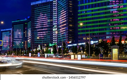 Moscow - July 20, 2019: New Arbat street in Moscow at night, popular landmark. Buildings with multi-colored illumination