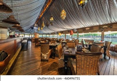 "MOSCOW - JULY 2014: The interior of the restaurant on the water ""SHATER"" in the Oriental style"