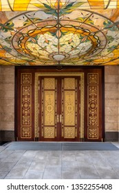 MOSCOW - JULY, 2018: entrance door to the Forbes Restaurant in Moscow downtown