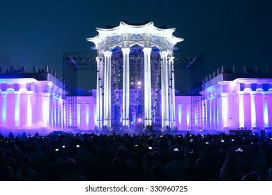 MOSCOW - JULY 26: Illumination of the building ( light show) at an exhibition (VDNH)  on july 26, 2015 in Moscow, Russia.