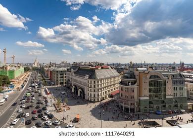Moscow. July 27, 2017. Top view of Lubyanka Square, entrance to the Lubyanka metro station, Nikolskaya Hotel and Nautilus shopping center