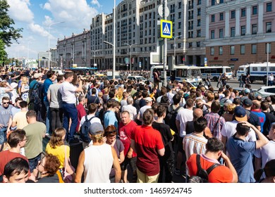 Moscow, July 27 2019.  Gathering at non allowed meeting at Moscow City Hall that was anounced by Alexey Navalny on July 20. Police blocks access to Tverskaya street, crowd on Pushkinskay square.