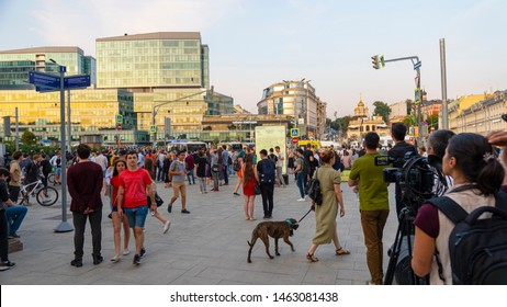 MOSCOW - July 27, 2019: protest continued on Trubnaya Square On Trubnaya Square in Moscow, about 300 people gathered from those people who today.