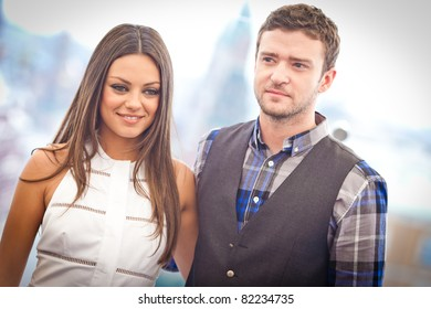 MOSCOW - JULY 27: Justin Timberlake and Mila Kunis attends the photo call 'Sex with benefits' during the premiere of this film on July 27, 2011 in Ritz Carlton Hotel, Moscow, Russia