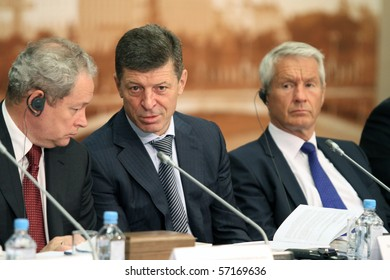 MOSCOW - JULY 8: Dmitry Kozak(C)- Deputy Prime Minister Russia, Viktor Basargin (L)- Minister of Regional development Russia,  Council of Europe - Thorbjorn Jagland(R), July 8, 2010 in Moscow, Russia.