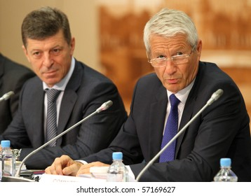 MOSCOW - JULY 8: Thorbjorn Jagland (R) - Secretary-General of the Council of Europe, the background Deputy Prime Minister of the Russia Mr.Dmitry Kozak, July 8, 2010 in Moscow, Russia.