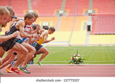 MOSCOW - JUN 11: Start of race at Grand Sports Arena of Luzhniki Olympic Complex during International athletics competitions IAAF World Challenge Moscow Challenge, June 11, 2012, Moscow, Russia.