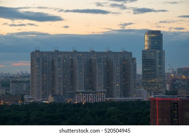 MOSCOW - JUN 13, 2016: Residential building on Begovaya and NorthStar Business Center Tower in evening time