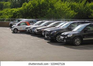 MOSCOW - JUN 22, 2018: Mercedes Smart car of Moscow carsharing company You drive are among other cars, carsharing is system of short-term car rental