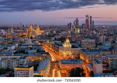 MOSCOW - JUN 5, 2015: Garden ring street with illumination at night