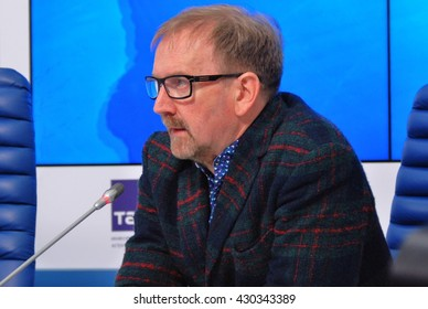 MOSCOW - JUNE 01, 2016: Press-conference of 38th Moscow International Film Festival. Film expert Pyotr Shepotinnik.