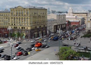 MOSCOW - JUNE 01, 2017: Tverskaya street in Moscow city historic center. Color photo.