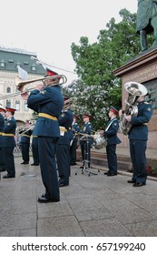 MOSCOW - JUNE 03, 2017: Military orchestra performs on the Red Square in Moscow. Free entrance public event. Color photo.