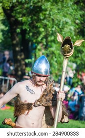 MOSCOW - JUNE 06, 2015: Man in celtic costume in historical reenactment of Boudica's rebellion of the first century AD. Times and Ages International Historical Festival in Kolomenskoye, Moscow.