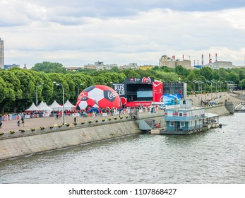 MOSCOW - June 06, 2018: View of Gorky park and Moscow river embankment, popular landmark.