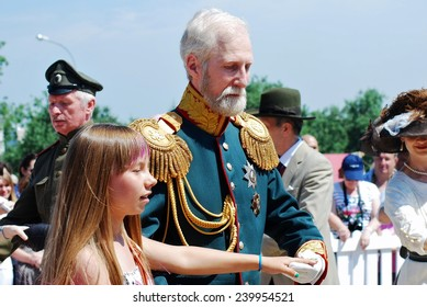 MOSCOW - JUNE 08, 2014: Portrait of people in historical costumes. Times and Ages International Historical Festival in Kolomenskoye park, Moscow.