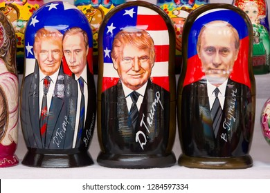 Moscow, June 08, 2018. City Market.Russian traditional nested dolls. Dolls have a portrait of Vladimir Putin and Donald Trump