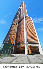 """MOSCOW - JUNE 1: """"Mercury City"""" - the highest skyscraper in Europe on June 1, 2014 in Moscow-City, Russia. The height of a 75-story tower is 338.8 meters."""
