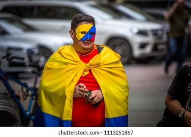 MOSCOW, JUNE 14, 2018. Fan in the mask from Colombia. The period of the International FIFA World Cup 2018 in Moscow