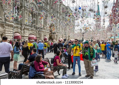 MOSCOW, JUNE 14, 2018. Football fans on the streets of Moscow. The period of the International FIFA World Cup 2018 in Moscow