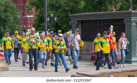 Moscow - June 14, 2018: Happy football fans from Australia came to the World Cup in Moscow and walked around the city June 14, 2018, Moscow, Russia