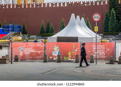 MOSCOW, JUNE 14, 2018. A policeman walks through the territory of Red Square. The period of the International FIFA World Cup 2018 in Moscow