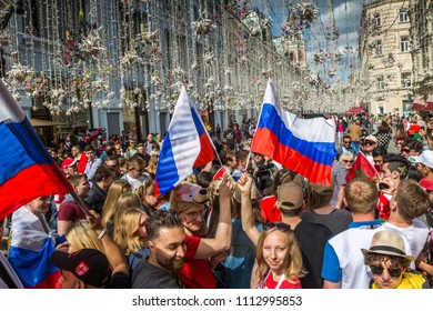 MOSCOW, JUNE 14, 2018. A team of fans from Russia. The period of the International FIFA World Cup 2018 in Moscow