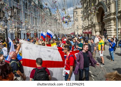 MOSCOW, JUNE 14, 2018. A team of fans from England. The period of the International FIFA World Cup 2018 in Moscow