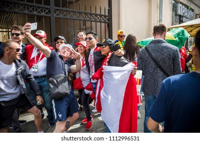 MOSCOW, JUNE 14, 2018. A team of fans. The period of the International FIFA World Cup 2018 in Moscow
