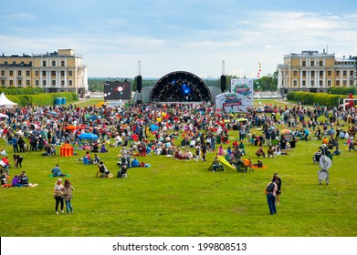 """MOSCOW - JUNE 14: People attend open-air concert on XI International Jazz Festival """"Usadba Jazz"""" in Archangelskoye Museum-Mansion on June 14, 2014 in Moscow"""
