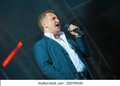 """MOSCOW - JUNE 14: Russian celebrity singer Leonid Agutin performs at XI International Jazz Festival """"Usadba Jazz"""" in Archangelskoye Museum-Mansion on June 14, 2014 in Moscow"""
