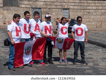MOSCOW - JUNE 15, 2018: Soccer World Cup Fanatics of Peru with flags with their typical costumes in the streets June 15, 2018 in Moscow, Russia