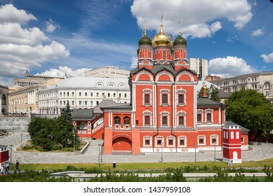 MOSCOW - June 15, 2019: Znamensky Church of the former Znamensky monastery. Architecture of Zaryadye park in Moscow. Color evening photo.