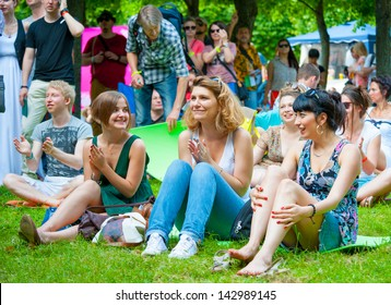 """MOSCOW - JUNE 15: People attend open-air concert on X International Jazz Festival """"Usadba Jazz"""" in Archangelskoye Museum-Mansion on June 15, 2013 in Moscow"""