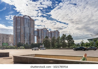 "Moscow. June 16, 2014. Residential complex of business class ""Kuntsevo"". Underground pedestrian crossing through Mozhayskoye highway."