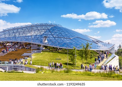 Moscow - June 17, 2018: Amphitheater with glass roof in Zaryadye Park in Moscow, Russia. Zaryadye park is a new tourist attraction of Moscow. Modern urban architecture in the Moscow center in summer.