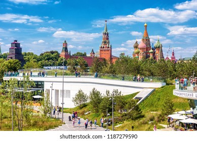 Moscow - June 17, 2018: Scenic panorama of Zaryadye Park overlooking St Basil's Cathedral and Moscow Kremlin, Russia. View of Moscow landmarks in summer. Nice scenery of Moscow center on sunny day.