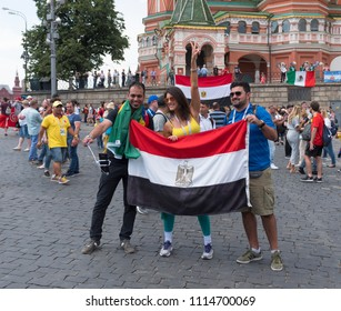 MOSCOW - JUNE 17, 2018: Soccer World Cup Fanatics of Egypt with flags with their typical costumes in the streets June 17, 2018 in Moscow, Russia