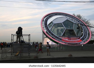 MOSCOW, JUNE 19, 2018. Television studio in the form of a soccer ball. The period of the International FIFA World Cup 2018 in Russia.
