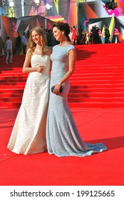 MOSCOW - JUNE 20, 2013: Actress Olga Kabo with her daughter at XXXV Moscow International Film Festival red carpet opening ceremony.