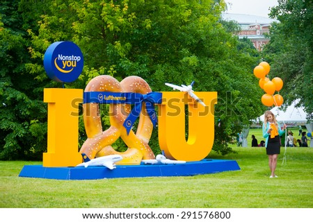 "MOSCOW - JUNE 20, 2015: Lufthansa makes a promotion campaign on XII International Jazz Festival ""Usadba Jazz"" in Tsaritsyno Park on June 20, 2015 in Moscow"