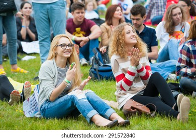 """MOSCOW - JUNE 20, 2015: People attend open-air concert on XII International Jazz Festival """"Usadba Jazz"""" in Tsaritsyno Park on June 20, 2015 in Moscow"""