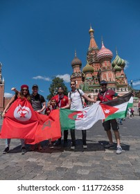 MOSCOW - JUNE 20, 2018: Soccer World Cup Fanatics of Tunisia, Morocco, Algeria, Jordan with flags with their typical costumes in the streets June 20, 2018 in Moscow, Russia
