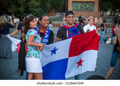 MOSCOW, JUNE 21, 2018. Football fans from Panama. The period of the International FIFA World Cup 2018 in Russia.