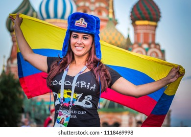 MOSCOW, JUNE 21, 2018. A woman is a football fan from Colombia on Red Square. The period of the International FIFA World Cup 2018 in Russia.