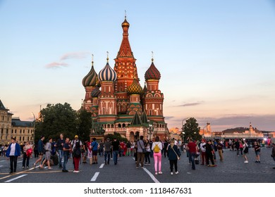MOSCOW, JUNE 21, 2018.Football fans on Red Square. The period of the International FIFA World Cup 2018 in Russia.