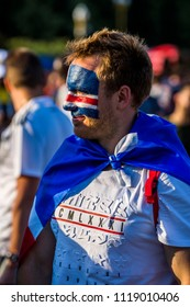 MOSCOW, JUNE 22, 2018. Icelandic football fan in Fan Zone. The period of the International FIFA World Cup 2018 in Russia