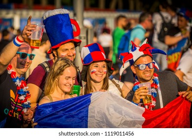 MOSCOW, JUNE 22, 2018. Russian and French football fans in Fan Zone. The period of the International FIFA World Cup 2018 in Russia